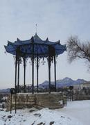 chinese arbor. north caucasus landmarks. winter pyatigorsk - stock photo