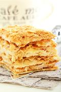 Cake of puff pastry. Stock Photos