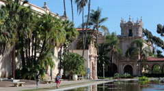 San Diego Balboa Park Lily Pond museums HD 9127 Stock Footage