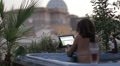 luxury spa - woman surfing in internet on tablet in whirlpool bath - jacuzzi HD Footage