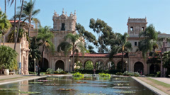 San Diego Balboa Park tourists Lily Pond museums HD 9128 Stock Footage