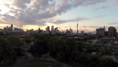 Toronto Sunrise/Sunset Skyline Aerial Stock Footage