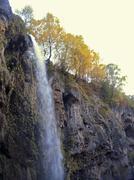 honey waterfalls. north caucasus travels. the autumn - stock photo