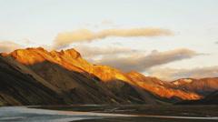 Landmannalaugar sunset medium Stock Footage