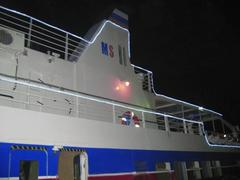 dagomys is a night walk ship by black sea - stock photo