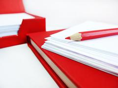 Red Pencil, Note Papers, Red Book and Red Box - stock photo
