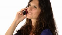 Woman in current of telephone conversation Stock Footage