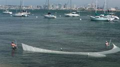 San Diego Bay korkeakouluopiskelijoiden net kala tutkimus HD 9257 Arkistovideo
