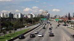 Street of Sao Paulo City - Pinheiros river Stock Footage