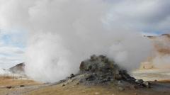 Mini volcano steams Stock Footage