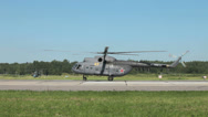 Stock Video Footage of The military helicopters on the airfield