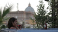 luxury spa - woman on the cell phone in jacuzzi - view of saint peter - wine Footage