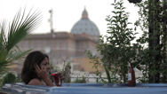 Stock Video Footage of luxury spa - woman on the cell phone in jacuzzi - view of saint peter - wine