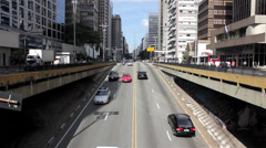 Street of Sao Paulo City - Paulista Avenue Stock Footage