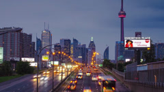 Time-lapse evening traffic in Toronto Stock Footage