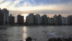 Panoramic view of Guaruja beach Stock Footage