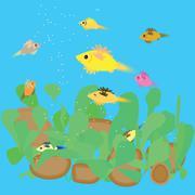 Fish feeding in the aquarium - stock illustration