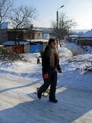 Woman enjoy going skating sleigh in wintertime Stock Photos