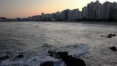 Beautiful view of Guaruja Beach Stock Footage