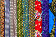 colorful and motifs batik cloth fabric in thai style - stock photo