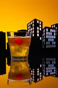 metropolis mai tai cocktail - stock illustration
