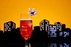 Metropolis singapore sling cocktail in city skyline setting Stock Illustration