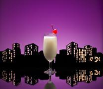 metropolis pina colada cocktail - stock illustration