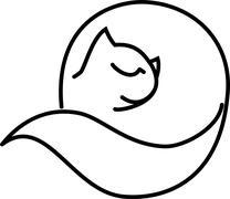 Cat roll - stock illustration