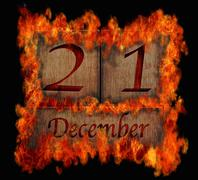 Burning wooden calendar december 21. Stock Illustration
