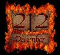 Burning wooden calendar december 22. Stock Illustration