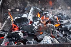 decaying coals for cooking - stock photo
