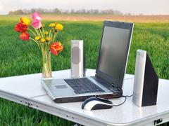 Laptop on the nature Stock Photos