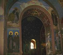 new aphon monastery. abkhazia. icon on the wall - stock photo