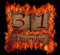 Burning wooden calendar december 31. Stock Illustration
