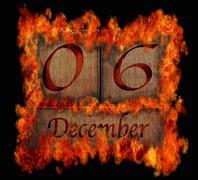 burning wooden calendar december 6. - stock illustration