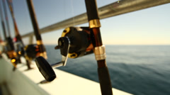 Fishing Rods on a Boat in Miami Florida HD Video Stock Footage