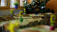 Stock Video Footage of Primary school tables decorated with flowers