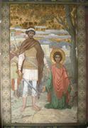 new aphon monastery. abkhazia. saint panteleimon icon - stock photo