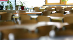 Empty school dining room Stock Footage