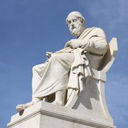 statue of philosopher plato in athens, greece - stock photo