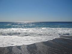 The black sea shoreline. the abkhazia travel Stock Photos