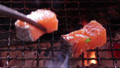 Grilling salmon Japanese yakiniku  Stock Footage