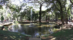 Fountain at Republic Park sao Paulo Brazil Stock Footage