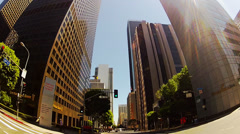 Car Driving Under Downtown Los Angeles Skyscrapers Stock Footage