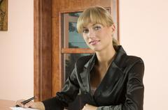 blond receptionist - stock photo