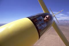Close-up of pilot in glider Stock Photos