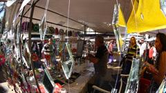 Sunday flea market in Praca da Republica Sao Paulo Brazil Stock Footage