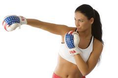 punching woman - stock photo