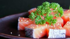 Salmon fillet with coriander Stock Footage
