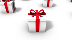 High angle arc pull back revealing endless Gift Boxes Stock Footage